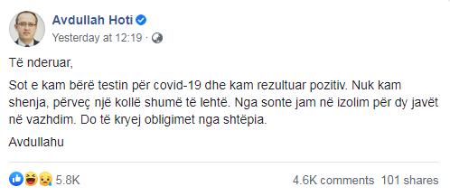 kosovo pm tested positive