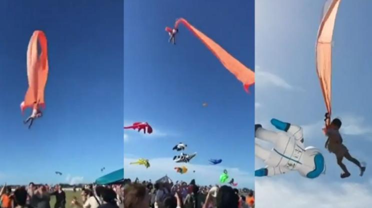 3 year old girl flies kite