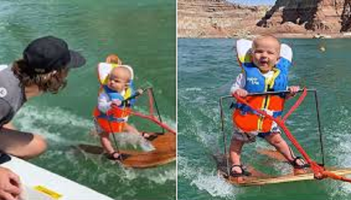 six month old baby water skiing
