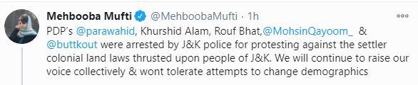 Mehbooba Mufti taken into custody