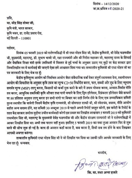 Anna Hazare letter to Agriculture Minister