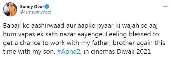 Sunny Deol tests positive