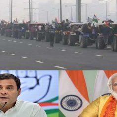 Rahul gandhi on tractor rally
