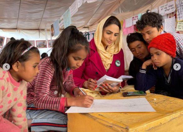 Japji Khaira seen teaching children