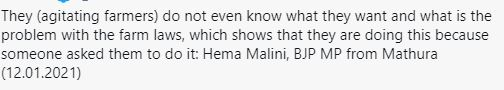 Hema Malini About Farmers