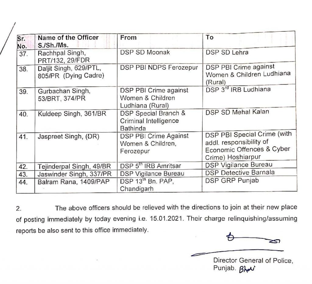44 Police Officers transferred