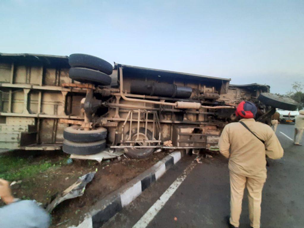 Amritsar roadways bus overturns