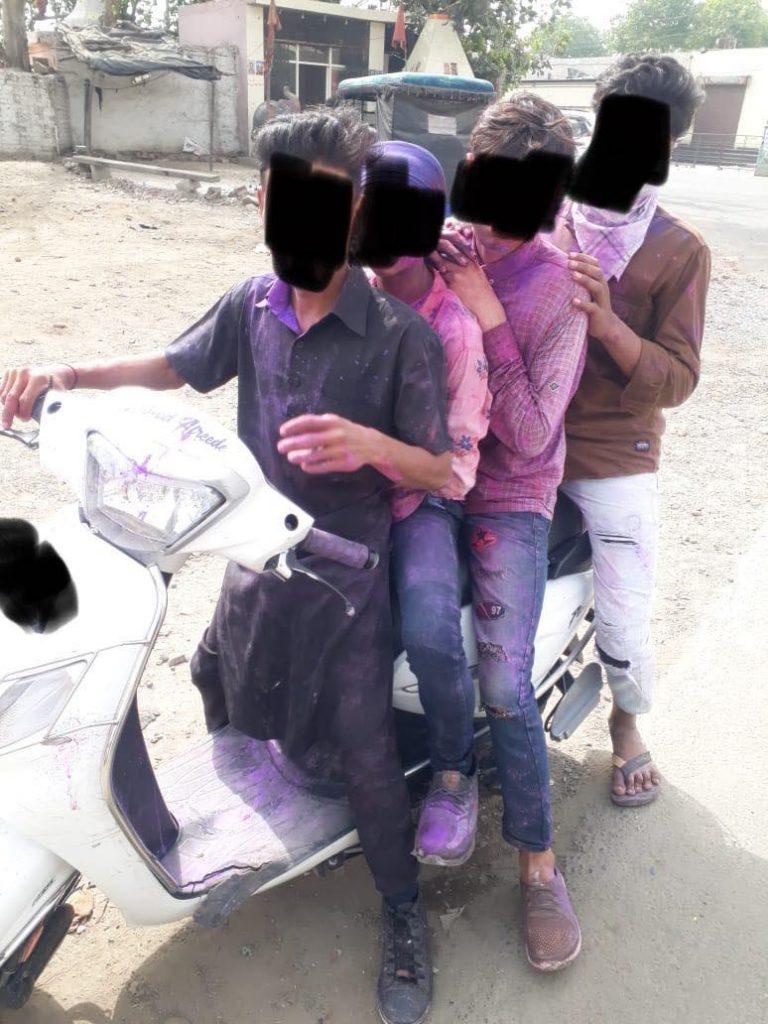 holi traffic police action hooliganism youth