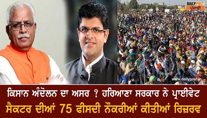 Haryana to reserve 75 percent jobs