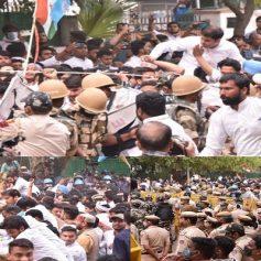 Nsui protest in delhi