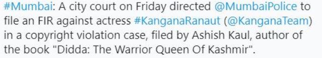 FIR against Kangana Ranaut