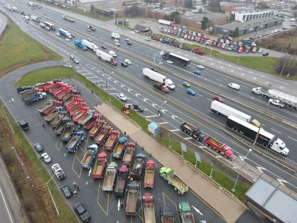 Dump truck drivers strike