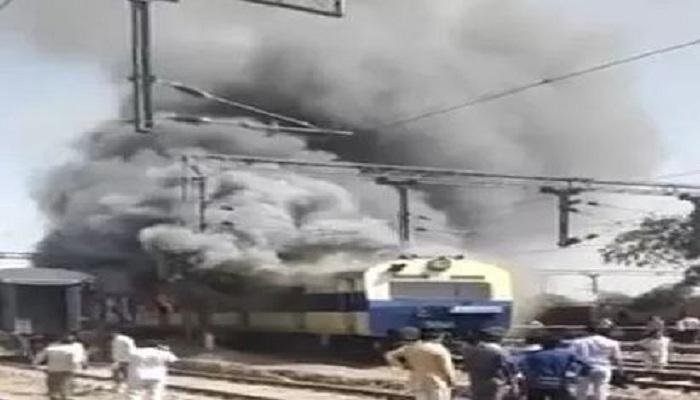 Passenger train caught fire in Rohtak