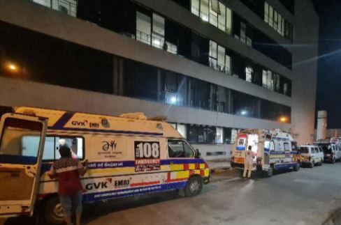 Queue of ambulances