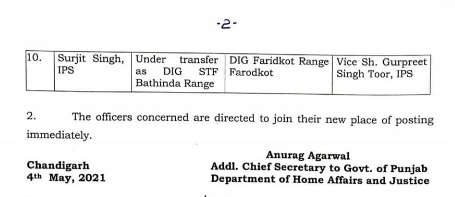 10 IPS Officers transferred