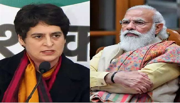 Priyanka attack govt over minus gdp