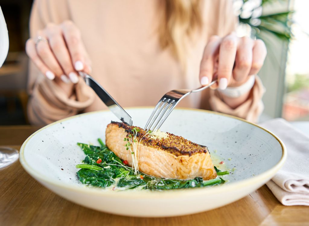 Woman healthy food