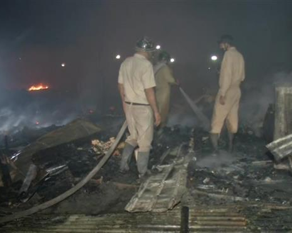 Delhi Rohingya refugee camp fire