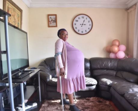 South African woman gives birth