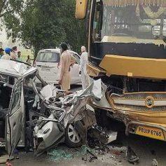 Bus car collision near joga