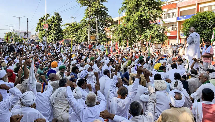 farmers protest at karnal