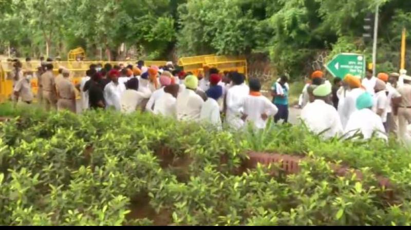 Shiromani akali dal protest march
