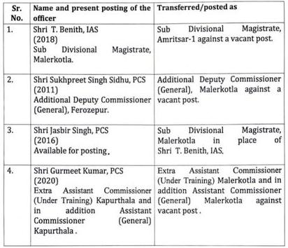Transfers of 4 IAS